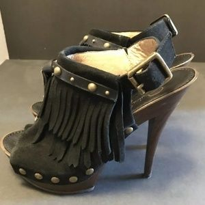 Jessica Simpson Black Suede Tassel Platform Shoes